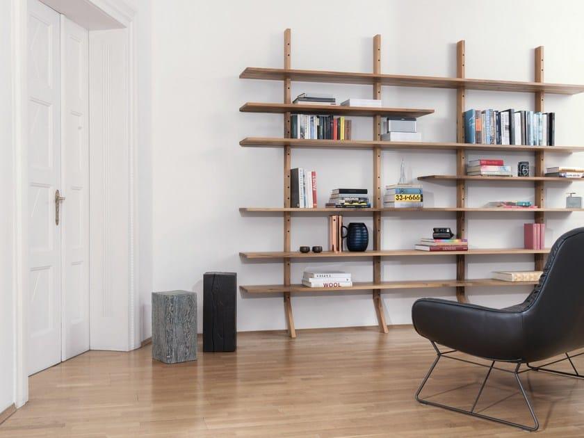 Open wall-mounted wooden shelving unit KS01 - Janua