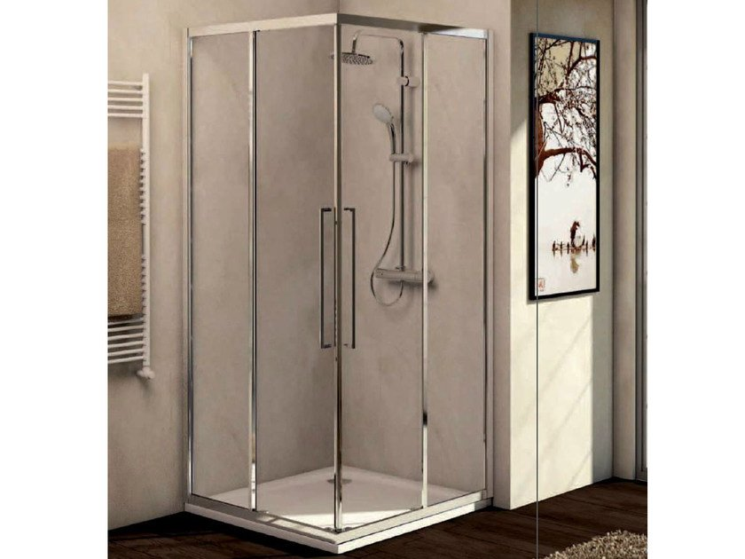 Tempered glass shower cabin with sliding door KUBO - mod. A - Ideal Standard Italia