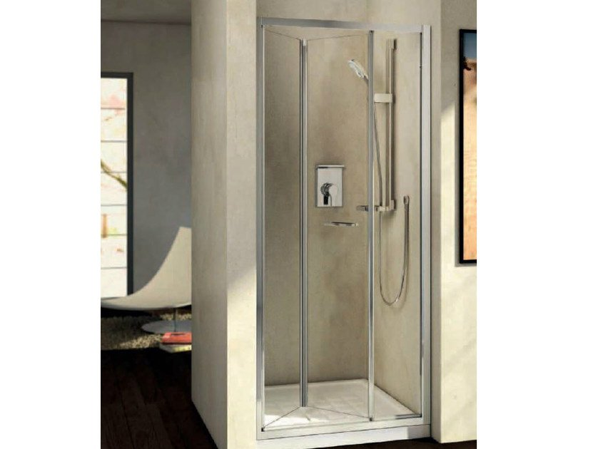 Tempered glass shower cabin with folding door KUBO - mod. PS - Ideal Standard Italia