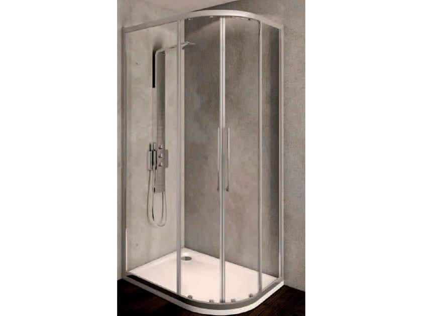 Corner tempered glass shower cabin with sliding door KUBO - mod. R SWIM - Ideal Standard Italia