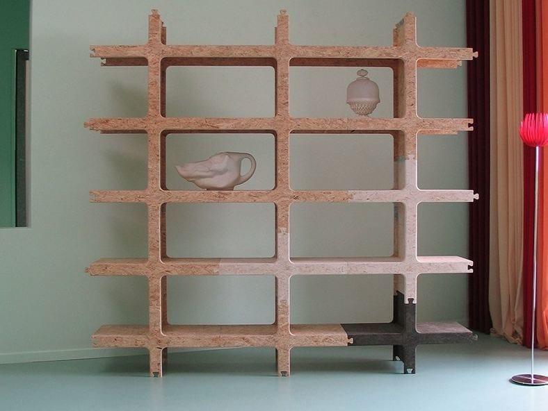 Open sectional modular OSB bookcase KWART - Palau