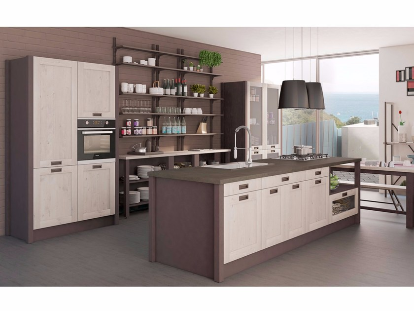 Fitted kitchen with island KYRA VINTAGE 02 - CREO Kitchens by Lube