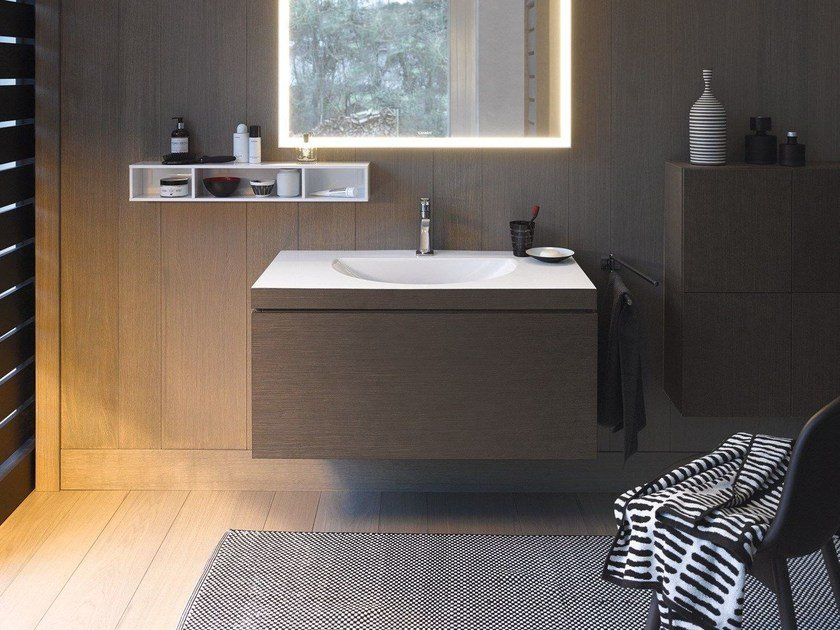 Wall-mounted wooden vanity unit with drawers L-CUBE C-BONDED | Wall-mounted vanity unit - DURAVIT