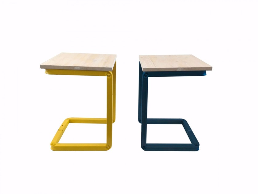 Steel and wood stool L_STOOLS - Castellani.it
