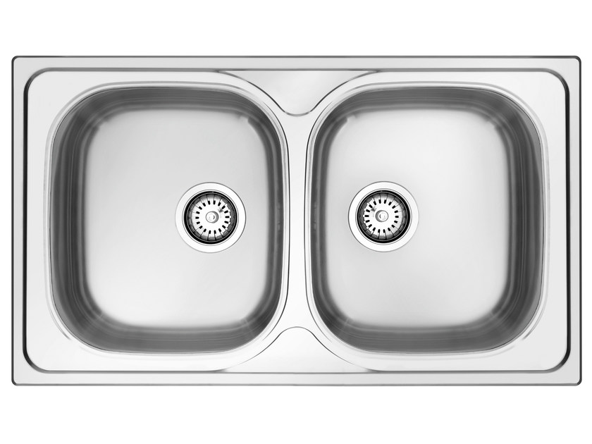 2 bowl built-in stainless steel sink L286XN | Sink - Glem Gas