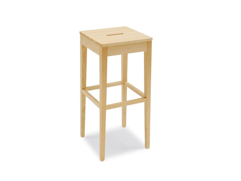 Beech stool with footrest LA LOCANDA | Beech stool - Calligaris