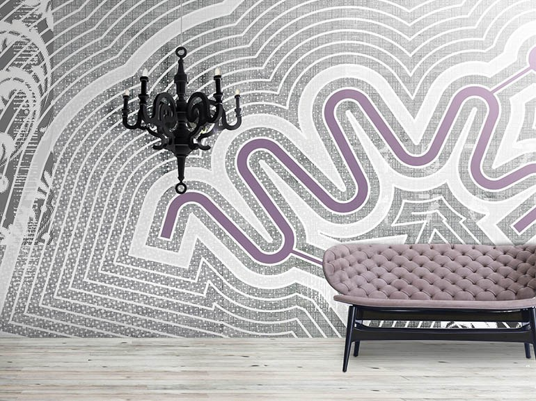 Contemporary style wall effect geometric washable synthetic material wallpaper LABIRYNTO - N.O.W. Edizioni