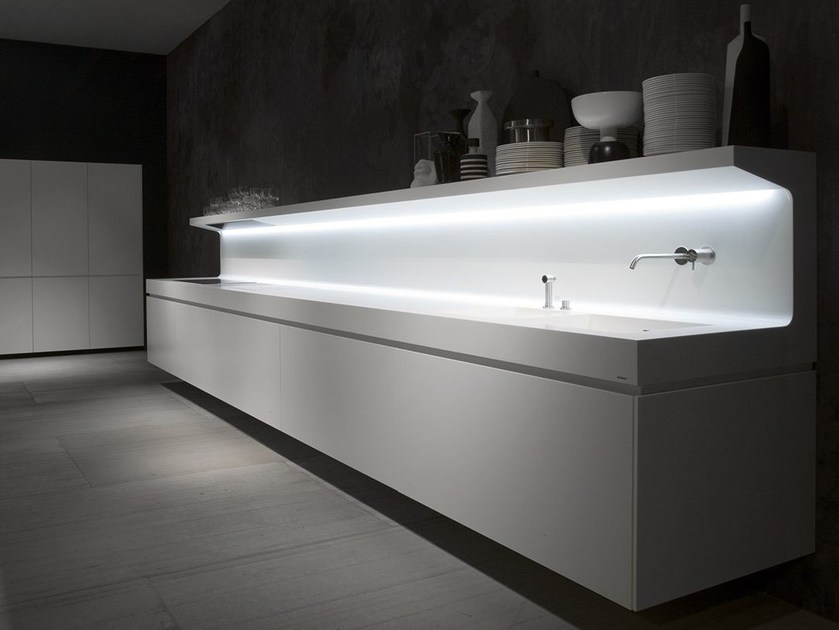 Linear wall-mounted Corian® kitchen LACUCINA - Antonio Lupi Design®