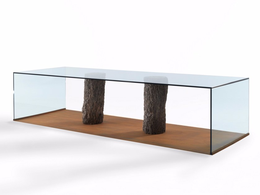 Rectangular wood and glass table LAGUNA by Riva 1920
