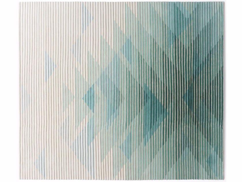 Tappeto fatto a mano optical rettangolare in tessuto LAKE GREEN - Golran