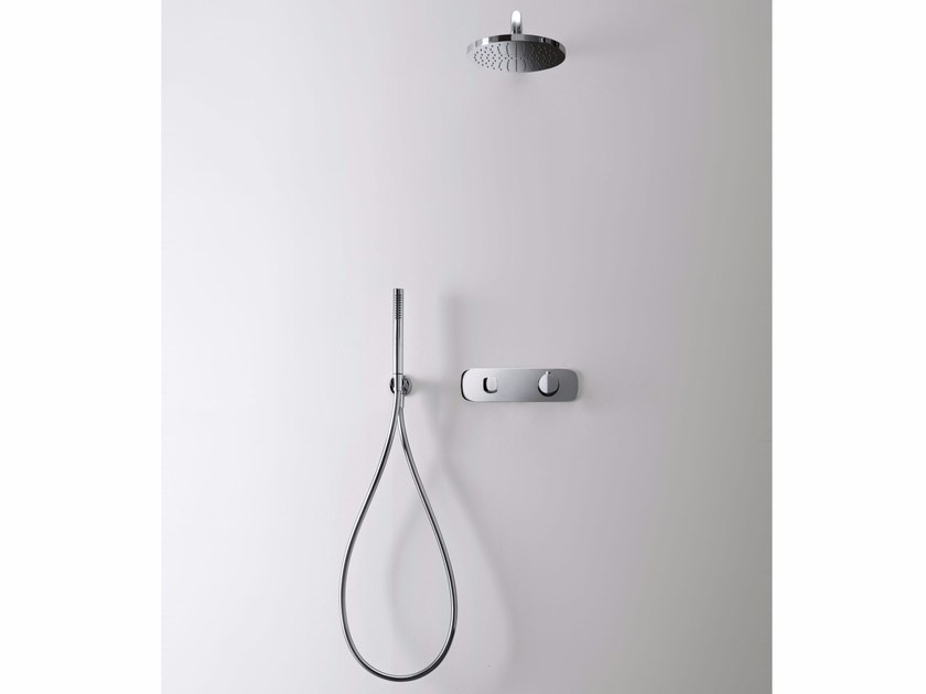 Shower mixer with hand shower with overhead shower LAMÈ | Shower mixer with hand shower - Fantini Rubinetti