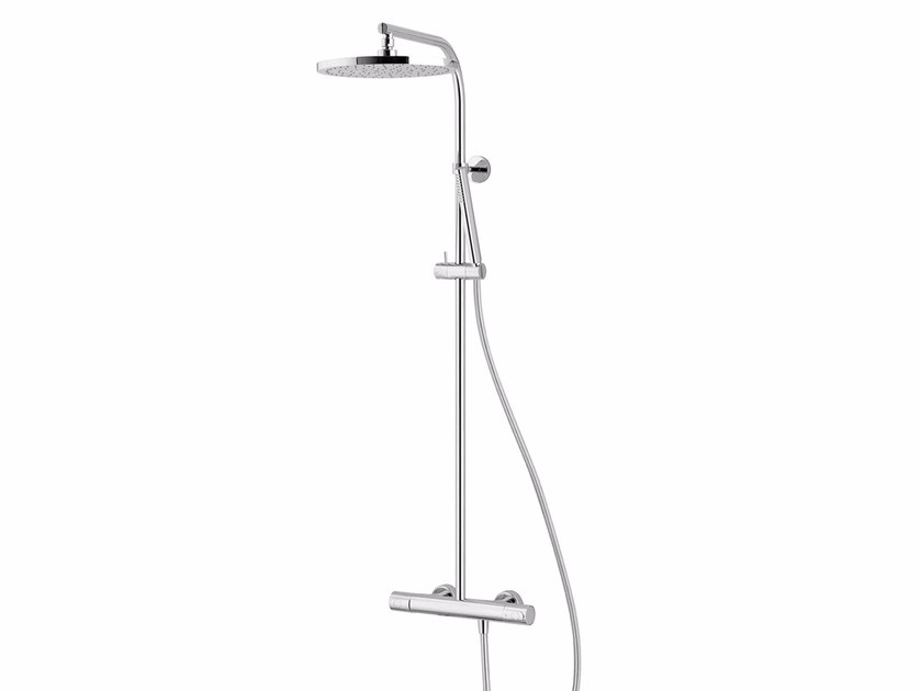 Wall-mounted thermostatic shower panel with overhead shower LAMÈ | Thermostatic shower panel - Fantini Rubinetti