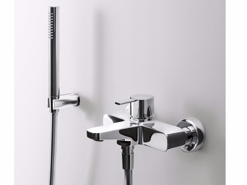 Wall-mounted bathtub mixer with hand shower LAMÈ | Bathtub mixer - Fantini Rubinetti