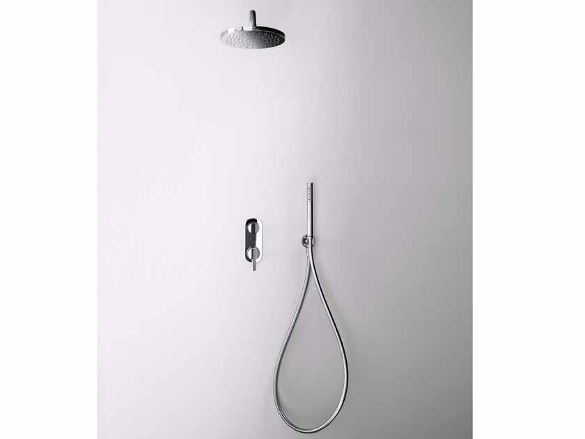 Shower mixer with hand shower with overhead shower LAMÈ | Shower mixer with overhead shower - Fantini Rubinetti