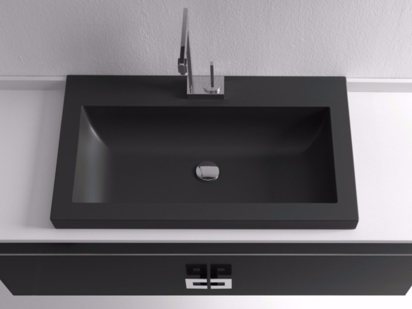 Inset rectangular single Silexpol® washbasin LAMDA - Fiora