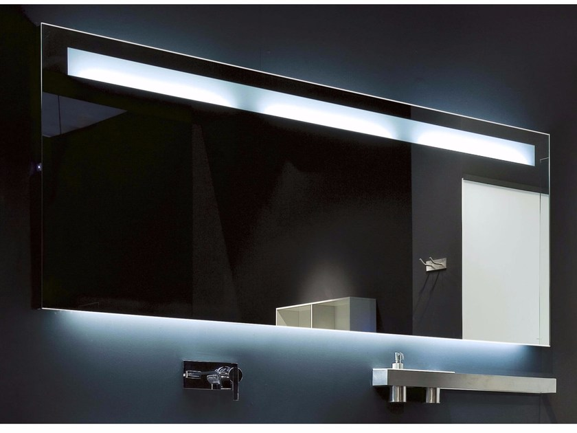 Rectangular bathroom mirror with integrated lighting LAMPO by Antonio Lupi Design