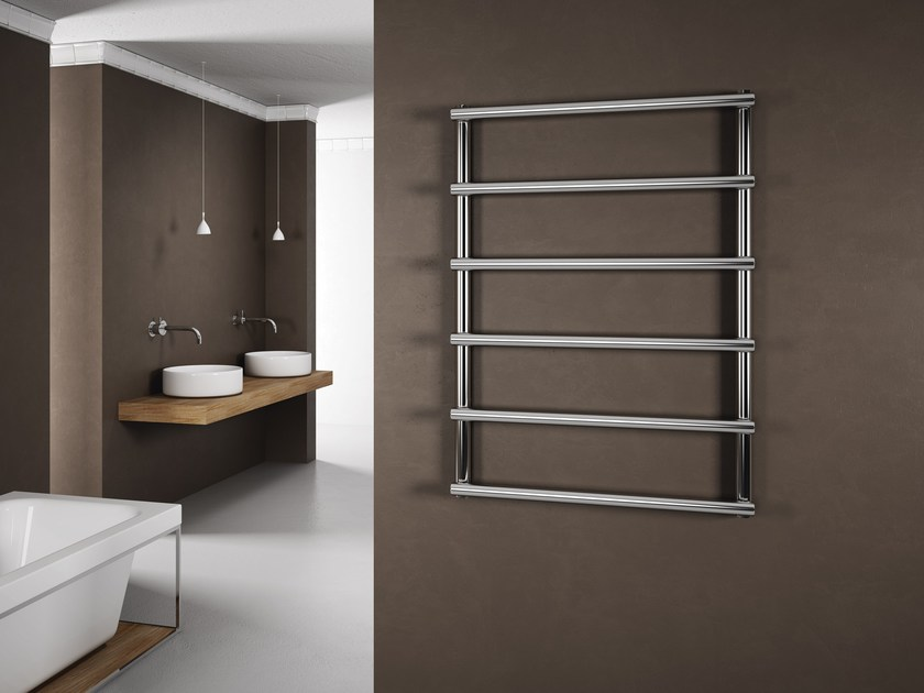 Hot-water wall-mounted glossy steel towel warmer LAURA - CORDIVARI
