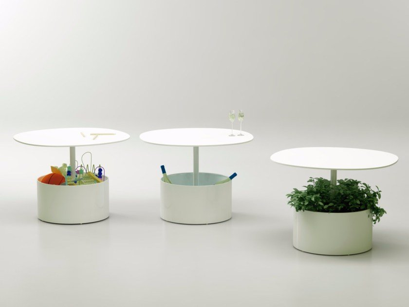 Round metal bistro side table with flowerpot LAURA - Systemtronic