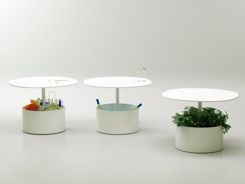 Tavolino rotondo in metallo con vaso per contract LAURA - Systemtronic