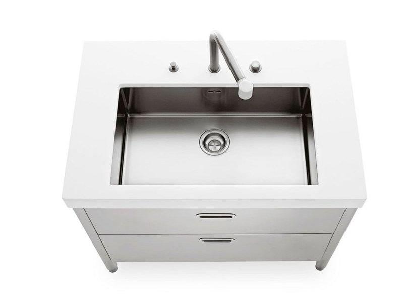 Modulo cucina in acciaio inox con lavello singolo lavaggio 100 modulo cucina con lavello - Mobili in acciaio per cucina ...