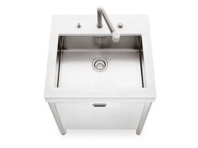 Brushed steel kitchen unit with single sink LAVAGGIO 70 | Brushed steel kitchen unit - ALPES-INOX