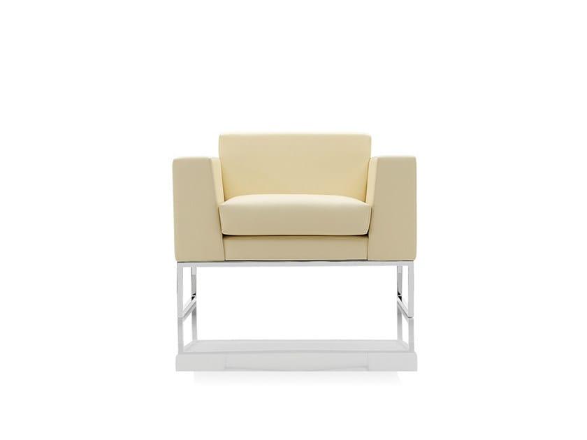 Sled base upholstered armchair with armrests LAZLA | Sled base armchair - Boss Design