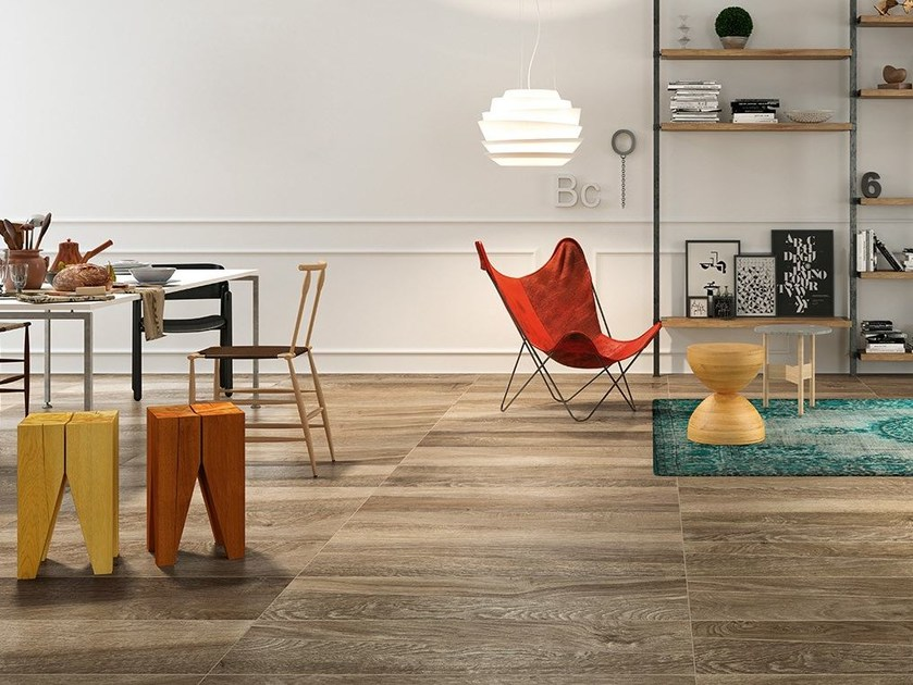 Porcelain stoneware flooring with wood effect LEGNI by Herberia