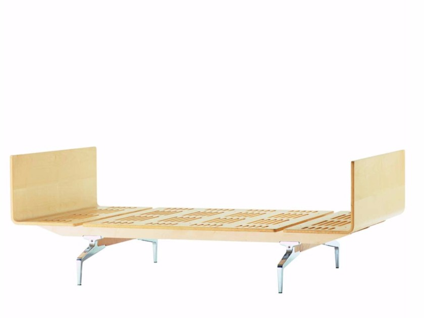 Aluminium and wood single bed LEGNOLETTO 090 - LL5_090 - Alias