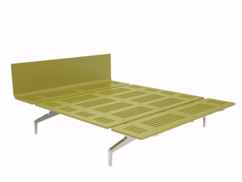 Aluminium and wood double bed LEGNOLETTO 160 - LL3_160 - Alias