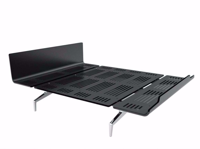 Aluminium and wood double bed LEGNOLETTO 160 - LL4_160 by Alias