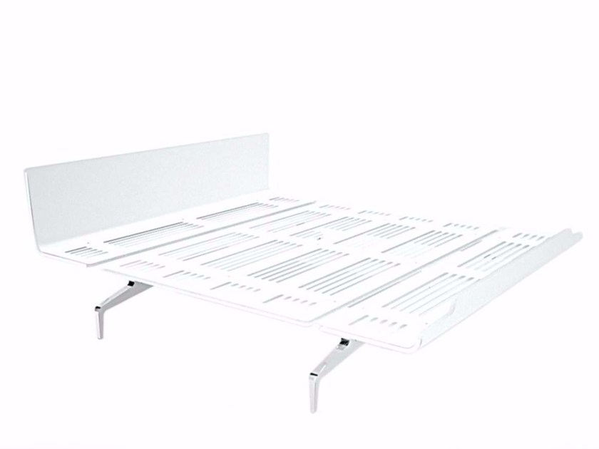 Aluminium and wood double bed LEGNOLETTO 180 - LL4_180 - Alias