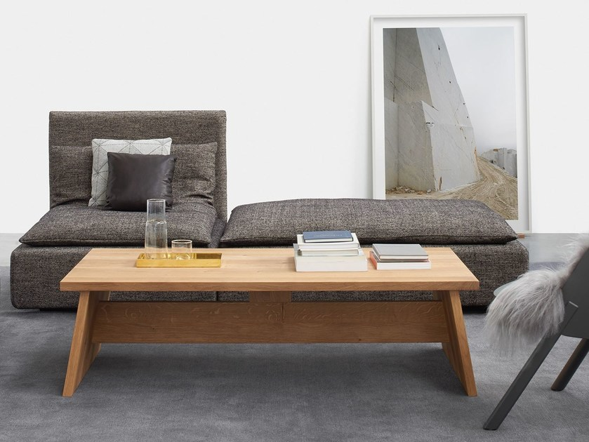 Contemporary style rectangular oak coffee table LEIGHTON | Solid wood coffee table - e15
