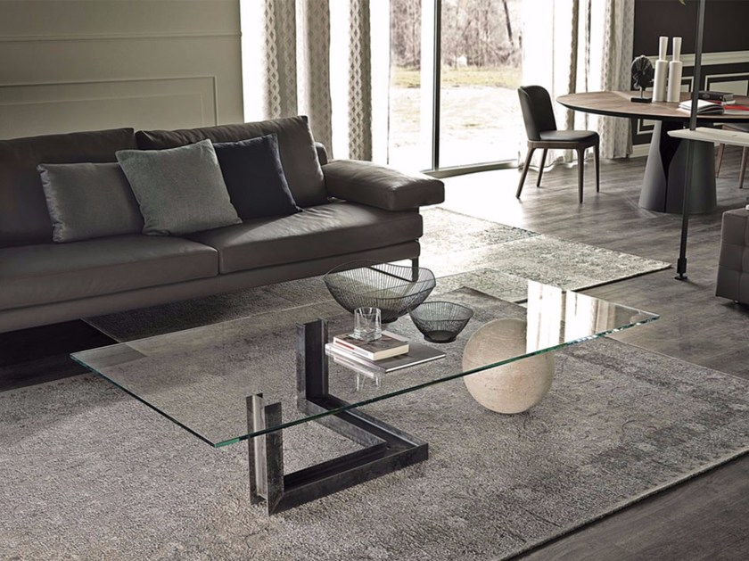 Low rectangular crystal coffee table LEVANTE - Cattelan Italia