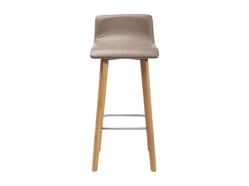 Leather barstool with footrest LEVI | Leather stool - KARE-DESIGN