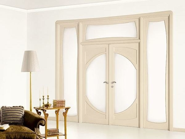 Solid wood lacquered door with transom window and side-light LIBERTY - LEGNOFORM