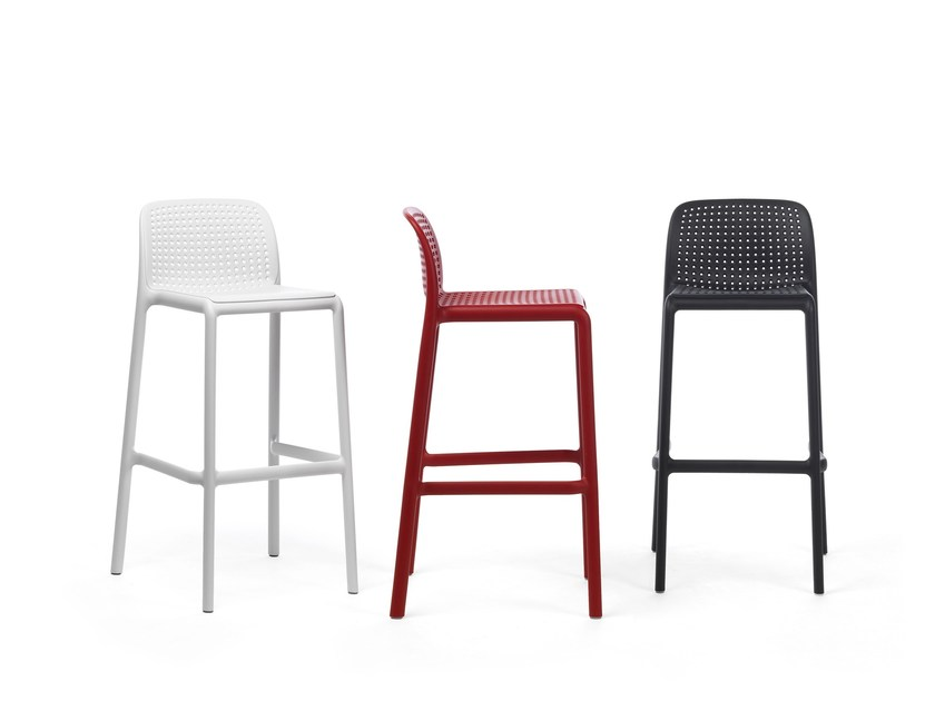 High stackable glass-fibre stool with footrest LIDO - Nardi