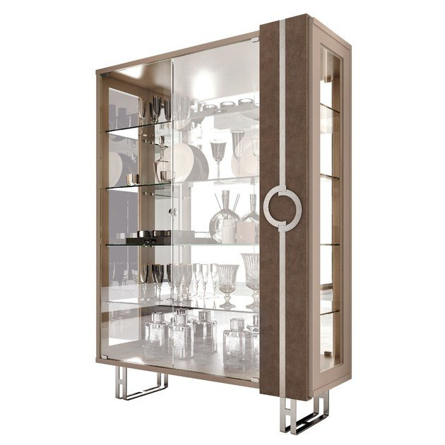 Contemporary style lacquered crystal display cabinet with integrated lighting LIFT | Display cabinet with integrated lighting - Caroti