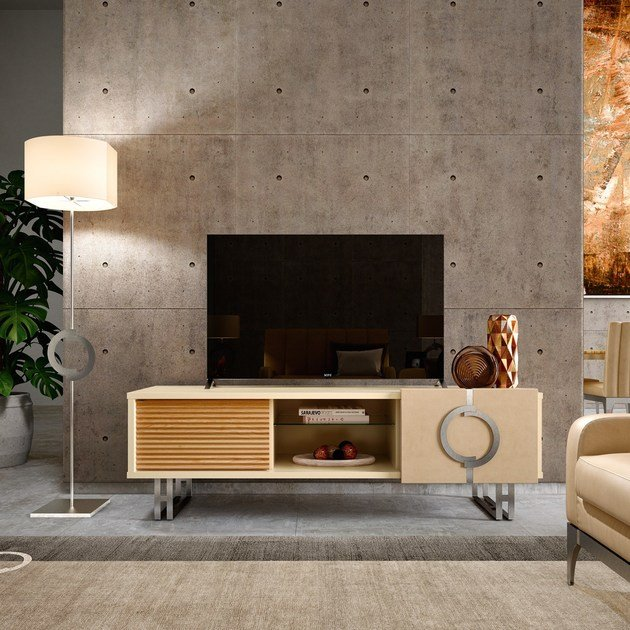 Contemporary style low lacquered crystal TV cabinet with shelves LIFT | Low TV cabinet - Caroti