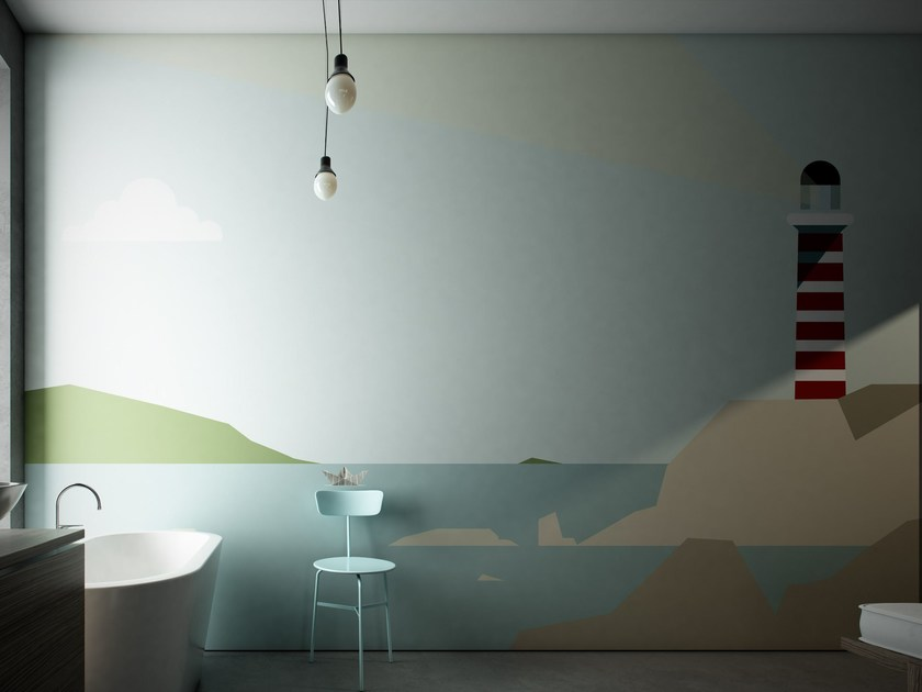 Washable landscape vinyl wallpaper LIGHTHOUSE - GLAMORA