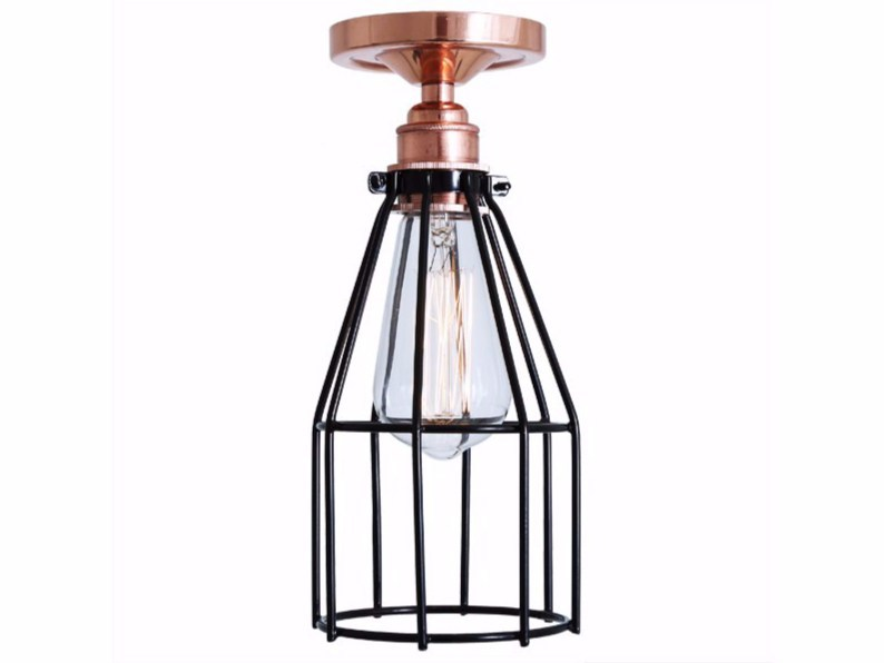 Handmade ceiling lamp LIMA FLUSH CAGE LIGHT - Mullan Lighting