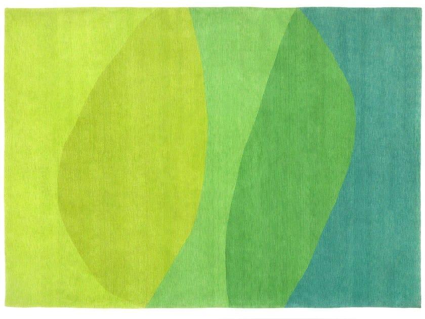 Handmade rectangular rug LIME JUICE - Deirdre Dyson