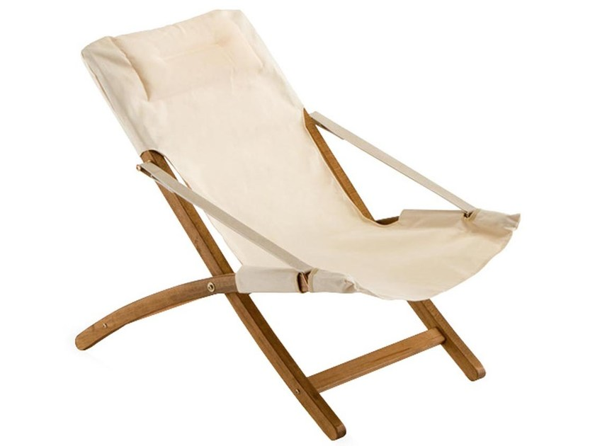 Folding recliner deck chair LINDA by FIAM