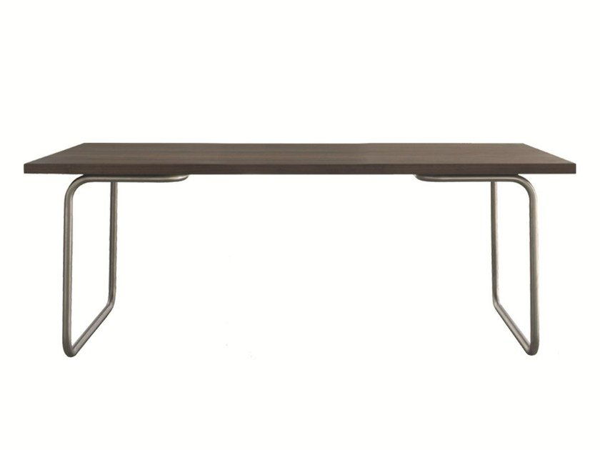 Stainless steel and wood table LINE - Palau
