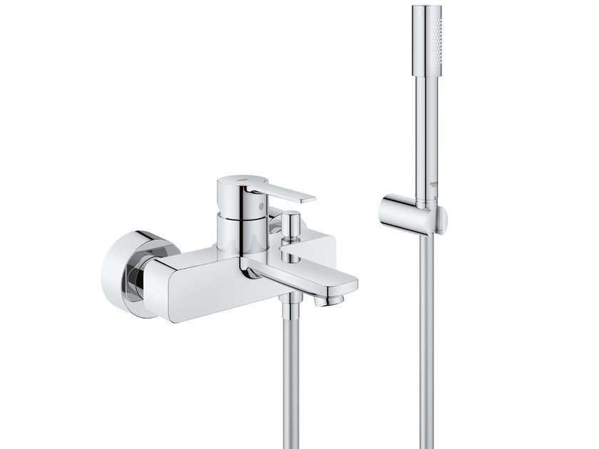 Wall-mounted bathtub mixer with diverter LINEARE NEW | Bathtub mixer with hand shower by Grohe