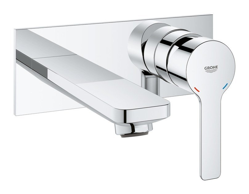 Wall-mounted washbasin mixer with plate LINEARE NEW | Wall-mounted washbasin mixer by Grohe
