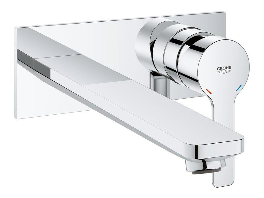 Wall-mounted washbasin mixer with plate LINEARE NEW | Washbasin mixer by Grohe