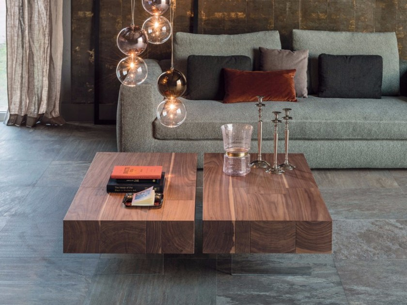 Low rectangular walnut coffee table LINGOTTO by Cattelan Italia