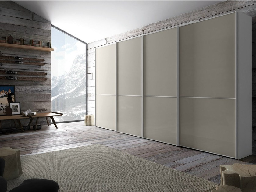 Lacquered wardrobe with sliding doors LINK | Wardrobe - PIANCA