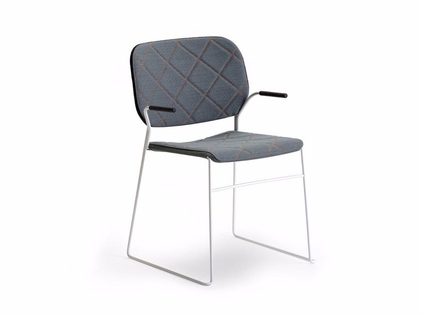 Sled base upholstered fabric chair with armrests LITE | Chair - Offecct