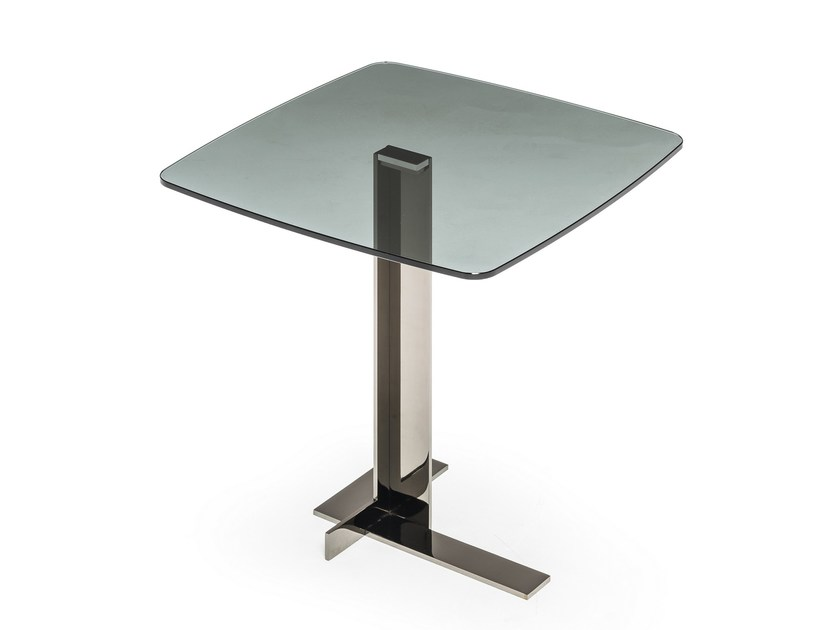 Tavolino di servizio quadrato in vetro LITH | Tavolino by Arketipo